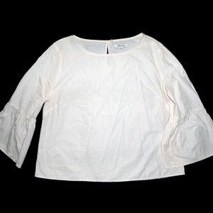 MADEWELL SHIRT YELLOW WHITE BELL SLEEVE STRIPES XL